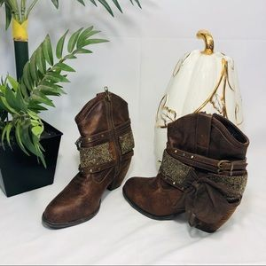 Women's heeled cow girl bling Booties size 7.5